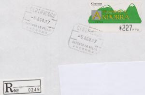 Brief mit einer Automatenmarke (Andorra spanisch) frankiert.